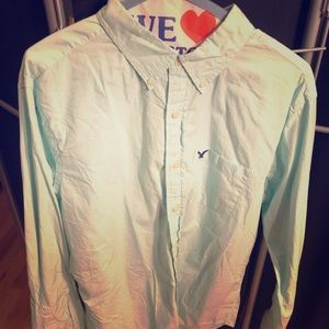 American Eagle large teal button-down